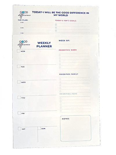 two planning pages on top of each other